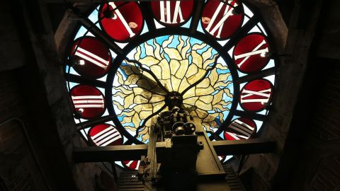 This antique is the Tiffany clock at Grand Central Terminal in New York. Each day, 700,000 people pass through the terminal, which opened in 1913.<br />