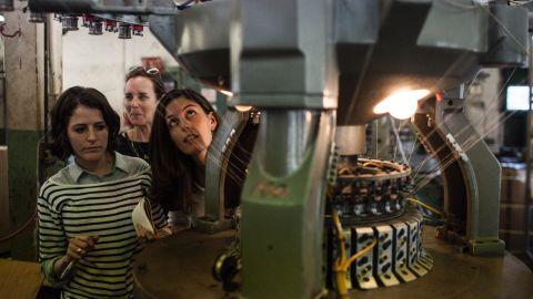 Maxine Bédat and Soraya Darabi tour Mohnton Knitting Mills.