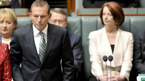There was no love lost between Tony Abbott and former prime minister Julia Gillard seen here in parliament in 2010.