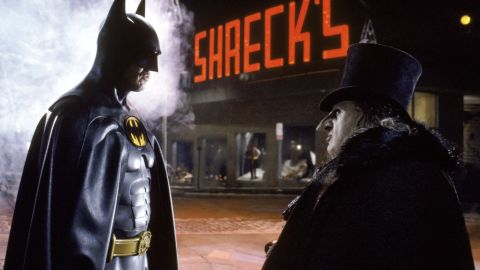 """Twenty years after Adam West's Batman came Michael Keaton in Tim Burton's 1989 """"Batman."""" He played more of a dark, explosive Batman, the opposite of West's goofy type. Keaton's performance in the movie received favorable reviews, and he became the first actor to reprise the role in 1992's """"Batman Returns"""" with Danny DeVito as the Penguin."""