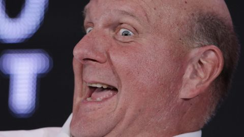 Oh, this is a caption contest waiting to happen. Here Ballmer speaks at the Web. 2.0 Summit in 2011 in San Francisco.
