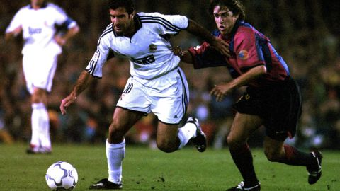 """In arguably his boldest transfer move, Real Madrid president Florentino Perez broke the world transfer record to sign Luis Figo from archrivals Barcelona in 2000. The capture of Figo ushered in the era of the """"Galacticos"""" and was symptomatic of the high spending which has characterized both of Perez's terms as Real president."""