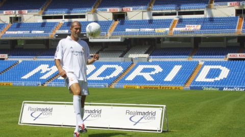 The fee Real paid for French world and European champion Zinedine Zidane in July 2001 eclipsed the one forked out for Figo  one year earlier. Following his transfer from Juventus, Zidane went on to score what is widely regarded as one of the finest goals in history as Real beat Bayer Leverkusen in the  2002 Champions League.