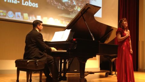 Carlos H. Costa and Joana Christina Brito de Azevedo perform at the Interdisciplinary Society for Quantitative Research in Music and Medicine meeting in Athens, Georgia. Researchers looking at the effects of music on the body and mind presented at the conference.