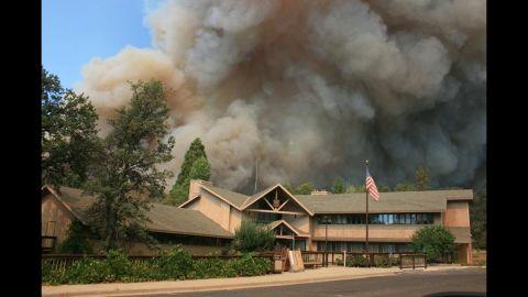 The Rim Fire burns close to Groveland Ranger Station near Yosemite National Park, California, on August 22.