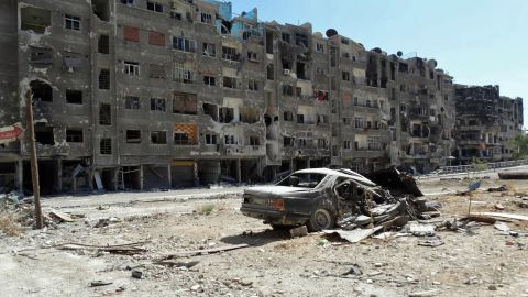 A handout image released by the Syrian opposition's Shaam News Network on August 17, 2013 shows heavily damaged buildings in Zamalka, a suburb of the Syrian capital Damascus. Zamalka is one of the places where an alleged chemical weapons attack took place.
