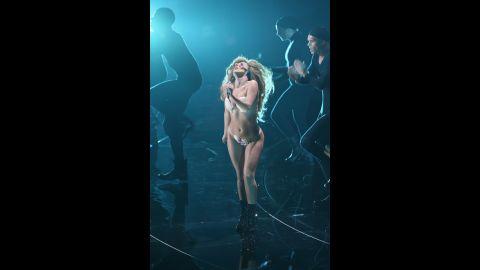 Lady Gaga performs at the 2013 MTV Video Music Awards.