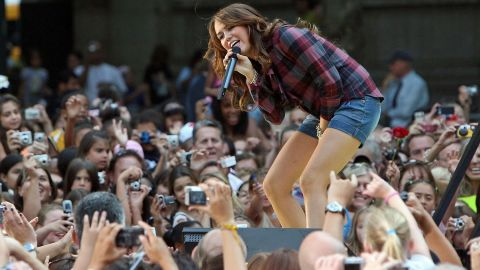 """Cyrus performs for ABC's """"Good Morning America"""" at New York's Bryant Park in July 2008."""