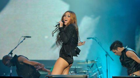 Cyrus performs at a music festival in June 2010 in Arganda del Rey, Spain.