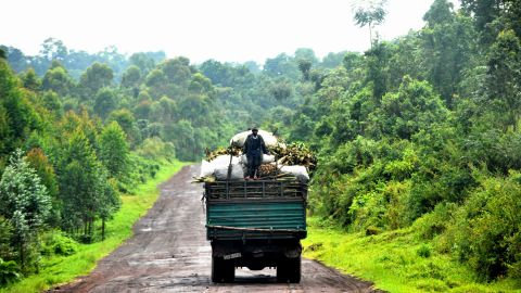 A man stands on the back of a truck in Rumangabo. Virunga is a picturesque backdrop to one of the most violent and longest runing armed conflict.