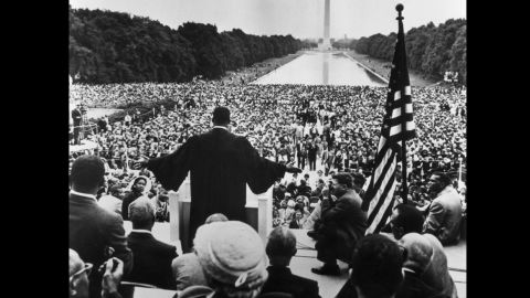 King speaks during the Prayer Pilgrimage near the Reflecting Pool in Washington on May 17, 1957.
