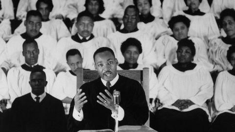 King delivers a sermon at Ebenezer Baptist Church in Atlanta in September 1960.