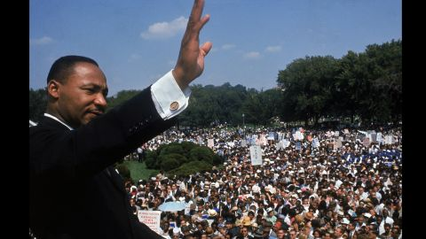 """King addresses a crowd of demonstrators outside the Lincoln Memorial during the March on Washington for Jobs and Freedom in Washington on August 28, 1963. He delivered his famous """"I Have a Dream"""" speech to more than 250,000 people."""