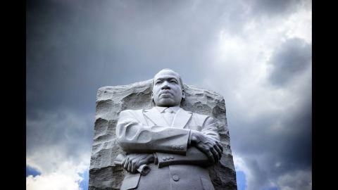 """The statue of King is pictured at a memorial in August 2013 in Washington, as thousands of people gathered to commemorate the 50th anniversary of the March on Washington for Jobs and Freedom, where King gave his """"I Have a Dream"""" speech."""