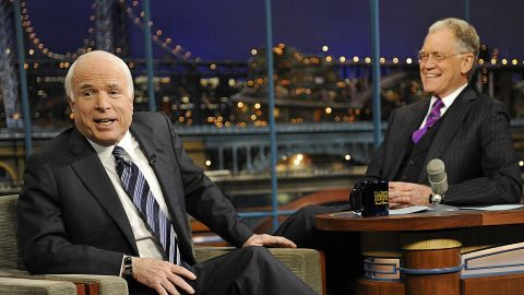"""After initially trying to skip out on Letterman's show in 2008, John McCain finally made it into the hot seat that October. The politician was faced with chatting up a man who roasted him for his cancellation in an earlier monologue. <a href=""""http://www.cnn.com/2008/POLITICS/10/17/mccain.letterman/"""">Both moments were deliciously squirmy TV</a>."""