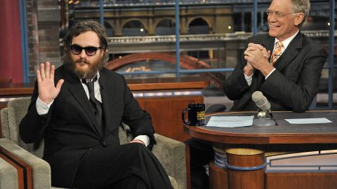 """Watching Joaquin Phoenix appear on """"Letterman"""" in 2009 was like watching a train wreck -- it was so hard to watch, but you just couldn't look away. Phoenix had drastically altered his appearance and behaved strangely, as Letterman tried to figure out how to navigate the puzzle before him. It was all an act, though, and <a href=""""http://marquee.blogs.cnn.com/2010/09/23/joaquin-phoenix-apologizes-to-letterman/?iref=allsearch"""">Phoenix returned to the show in 2010 to apologize. </a>"""