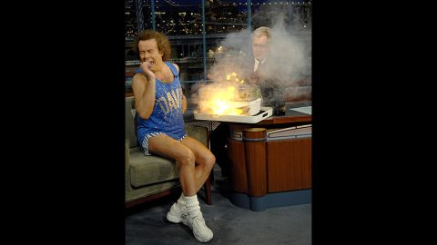 Richard Simmons and David Letterman have a wonderfully antagonistic friendship, and out of the many times the fitness king has appeared on the program, it's hard to pick a favorite. This moment from 2009, when Simmons and Letterman bickered over how to use a food steamer just before it burst into flames, is the kind of late night gold that other hosts dream about.