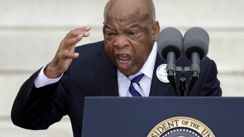 """Rep. John Lewis of Georgia speaks during the ceremony, celebrating the 50 year anniversary of when Martin Luther King Jr. delivered his """"I Have a Dream"""" speech."""
