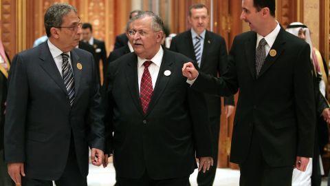 From left: Arab League Secretary-General Amr Moussa, Iraqi President Jalal Talabani and al-Assad talk at the Arab Summit in Riyadh, Saudi Arabia, on March 28, 2007.