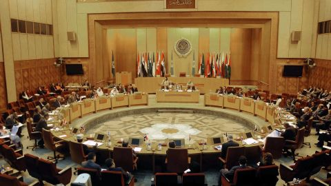 """Representatives of Arab countries discuss Syria at the Arab League headquarters in Cairo, Egypt, on Tuesday, August 27. President al-Assad vowed to defend his country against any outside attack. """"The threats of launching an aggression against Syria will increase its commitments,"""" and """"Syria will defend itself against any aggression,"""" he said, according to Syrian state TV."""