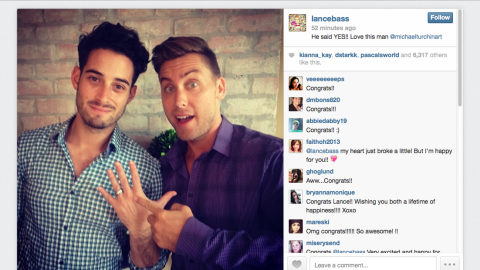 Lance Bass, right, and Michael Turchin wed in December 2014 in Los Angeles. The couple announced their engagement on social media in September 2013 with a shot of Turchin flashing the ring.