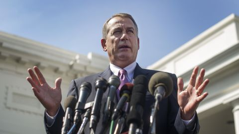 """Speaker of the House John Boehner, R-OH, delivers remarks after a meeting with President Barack Obama and other congressional leaders on Syria at the White House in Washington, DC, on September 3. Boehner said he would support Obama's call for military strikes against Syria. In a potentially significant political move, Boehner emerged from talks with Obama at the White House saying the United States must respond to the use of chemical weapons, adding """"I am going to support the president's call for action."""""""