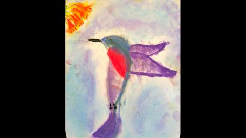 """C.J., now a first-grader, drew a hummingbird in art camp this summer. """"He'll tell you that his favorite subjects at school are playing on the playground with his friends and doing crafts,"""" Duron wrote. """"It's the academic portion of school that he struggles with sometimes."""""""