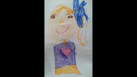 """C.J. is a boy, but usually draws himself as a girl, as he did in this self-portrait. Around this time, he drew himself as a boy at school for the first time, which surprised his parents. """"He did it to adapt and conform. He did it to hide his true self,"""" Duron wrote on her blog, <a href=""""http://raisingmyrainbow.com/2012/09/19/my-son-draws-himself-as-a-girl/"""" target=""""_blank"""" target=""""_blank"""">RaisingMyRainbow.com</a>. """"It felt like he had lost some of his innocence."""""""