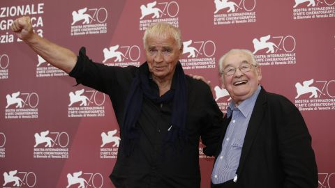 """Director Andrzej Wajda, right, and writer Janusz Glowacki pose for photographers during the photo call for the film """"Walesa. Man Of Hope"""" on Thursday, September 5, 2013."""