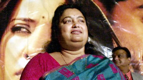 """Sushmita Banerjee at a news conference in 2002, announcing a film based on her life story, """"Escape from Taliban."""""""