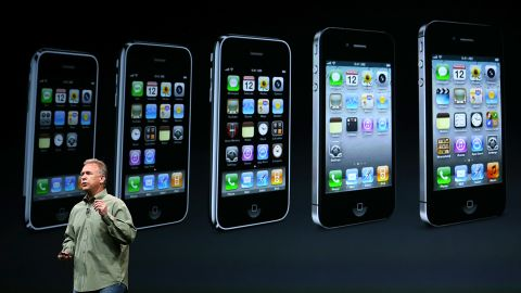 Schiller, the Apple marketing chief, announced the <strong>iPhone 5</strong> on September 12, 2012, in San Francisco. This model featured a slightly larger screen and a new connector for charging the battery.