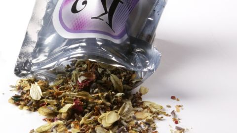 """WASHINGTON, DC - JULY 7:  A pouch of dried herbal potpourri being called """"synthetic marijuana"""", photographed at The Washington Post via Getty Images in Washington, DC on July 7, 2010.  One gram bags of the herbal mix are labeled warning the product is """"not for human consumption"""" and to """"burn in a well ventilated area."""" (Photo by Wendy Galietta/The Washington Post via Getty Images)"""