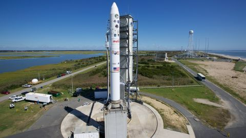 """A rocket carrying a NASA moon orbiter sits on the launch pad in Wallops Island, Virginia, on September 6. The Lunar Atmosphere and Dust Environment Explorer (LADEE) is designed to """"orbit the moon to gather detailed information about the lunar atmosphere, conditions near the surface and environmental influences on lunar dust,"""" NASA said."""