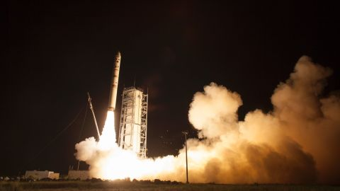 NASA's Lunar Atmosphere and Dust Environment Explorer (LADEE) observatory launches aboard the Minotaur V rocket from the Mid-Atlantic Regional Spaceport at NASA's Wallops Flight Facility on Friday, September 6, in Virginia.