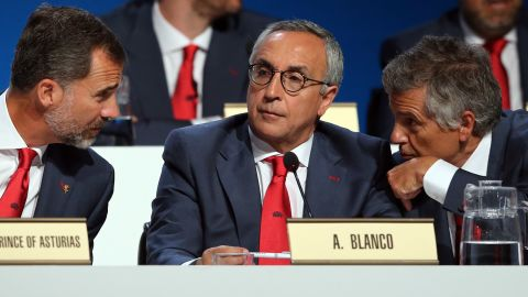 Spain's Prince Felipe, president of the Madrid 2020 bid committee Alejandro Blanco and IOC executive committee member Juan Antonio Samaranch Jr. had hoped it would be third time lucky for the city's chances.