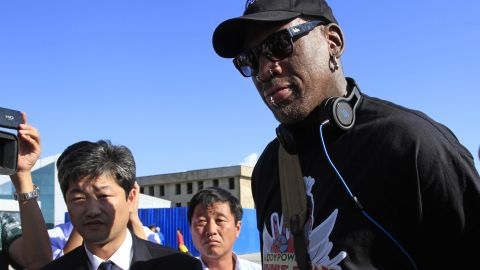 Rodman arrives at North Korea's Pyongyang airport in September 2013.