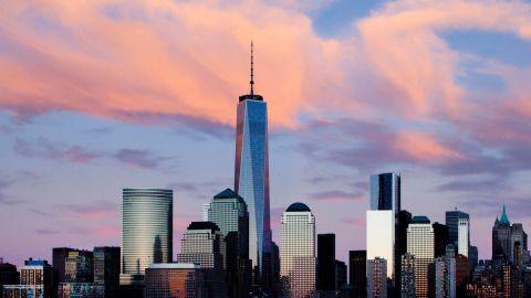 One World Trade Center rises above the lower Manhattan skyline in New York.