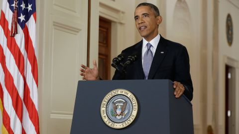 During the 15-minute speech, Obama said that he needed congressional authorization to use military force as leverage in a newly emerged diplomatic opening from Russia.