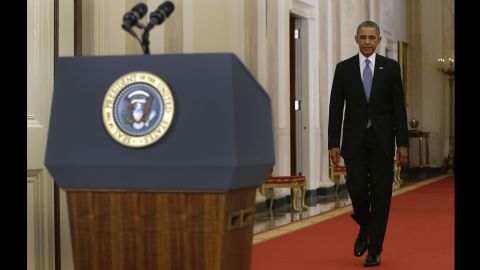 President Barack Obama approaches the podium in the East Room of the White House on Tuesday, September 10, for a speech addressing the nation on the justification for possible military action against the regime of Syrian President Bashar al-Assad. The regime is accused of launching a horrific chemical weapons attack in the suburbs of Damascus that killed more than 1,400 people.