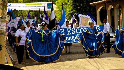 """The flowing blue dresses worn by young women during an Independence Day parade in Nicaragua was captured on film by Brad Cordeiro on September 14, 2009. The 31-year-old from Los Angeles was in Nicaragua to work on the TV-show Survivor. """"The feel of the parade was of a lot of proud parents watching their kids participate. <a href=""""http://ireport.cnn.com/docs/DOC-1028970"""" target=""""_blank"""">The celebration was a week long</a>, and as San Juan del Sur is a resort town people from all over the country came to town, it felt like the whole country was there,"""" he said."""