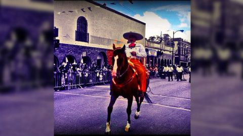 """Evelyn Ramirez Landa took this colorful photo of a Charro (Mexican horseman) during last year's annual Mexican Independence Day parade in the neighborhood of La Villita (Little Village) in her hometown Chicago. """"There were all types of floats from organizations to radio stations and many folkloric dancers and Aztec Dancers, the environment was quite beautiful and everyone was so excited to watch the parade,"""" said the 28-year-old Mexican American."""