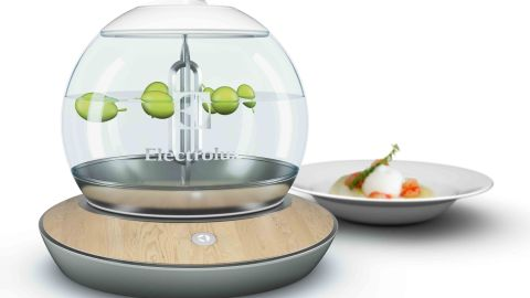 """<a href=""""http://www.electrolux.co.uk/Global-pages/Promotional-pages/Electrolux-Design-Lab/Electrolux-Design-Lab-Finalists-Present-Concepts-that-Stimulate-the-Senses/"""" target=""""_blank"""" target=""""_blank"""">The Mo'Sphere</a> is a molecular cooking device that lets you create new foods using a bit of chemistry."""