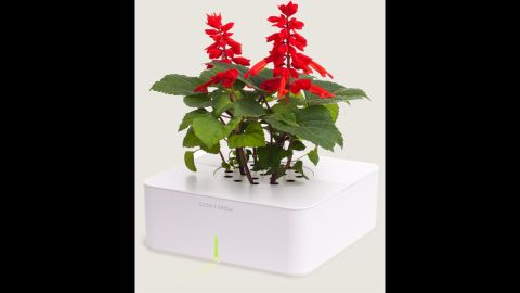 """<a href=""""http://www.clickandgrow.com/"""" target=""""_blank"""" target=""""_blank"""">Click and Grow</a> lets you grow herbs and flowers indoors using a smart soil and watering technology."""