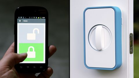 """<a href=""""https://lockitron.com/"""" target=""""_blank"""" target=""""_blank"""">Lockitron</a> lets you use your smartphone to unlock your doors."""