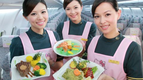 Flight attendants aboard EVA Air's Magic Stars Hello Kitty jet.