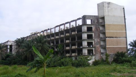 The skeletal remains of  two of Liberia's biggest hotels -- Ducor Intercontinental and Hotel Africa -- serve as a grim reminder of the impact the war had on the country.