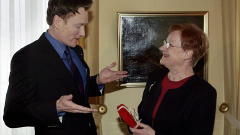 Conan got a huge following in Finland when it turned out he resembled the country's female president, Tarja Halonen. After several weeks of joking about this, Conan went to Finland in 2006 and did an entire show from there, meeting the president.
