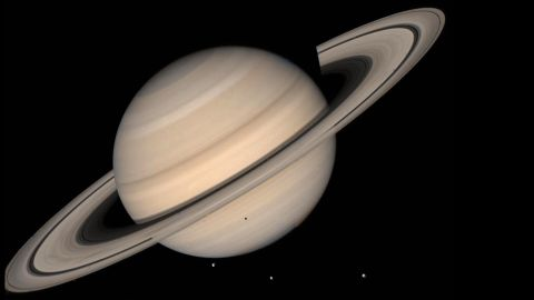This August 1998 NASA file image shows a true color photo of Saturn assembled from Voyager 2 photos.