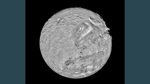 Miranda is the the eleventh known satellite of Uranus.  The moon was essential in the Voyager mission in that it provided a gravity assist to propel the craft on toward Neptune.