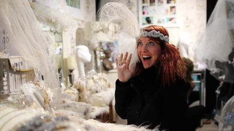 A vintage veil that's been passed down for generations is one thing. But many brides find that the cumbersome veil they've spent a fortune on is the first thing to go the second the ceremony is over.